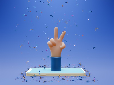 victory hand emoji confetti phone mobile peace sign success lowpoly illustration graphic design 3d peace emoji hand victory