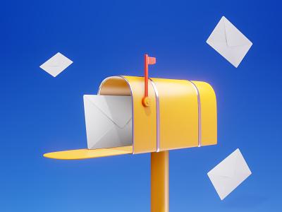 you've got mail 3d art graphic design design lowpoly illustration envelope letter post new message gmail mailbox 3d email