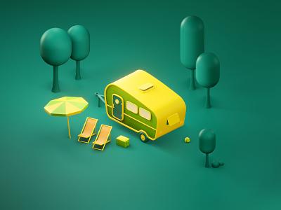 happy holidays travel trip forest summer trailer caravan holidays camping graphic design design 3d art illustration 3d lowpoly