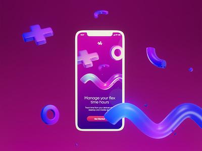 flextime app design app flex flextime mobile mockup branding ui 3d art illustration 3d