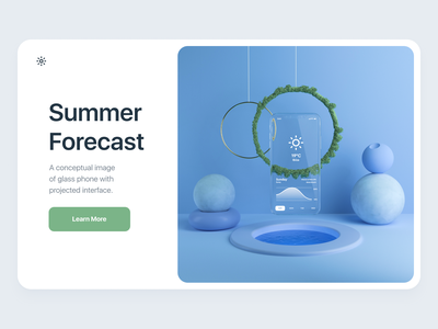 Summer Forecast weather typography mockup ios mobile layout interface clean cinema4d c4d 3d art 3d