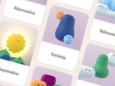 Kintsugi exercise cards mental health cards ui branding illustration 3d