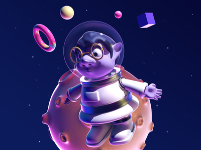 Dwarf Astro dwarf planet astronaut cinema4d 3d character dribbble illustration design
