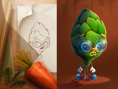 Artichoke-Veggie Run Game animation ui ux design character game