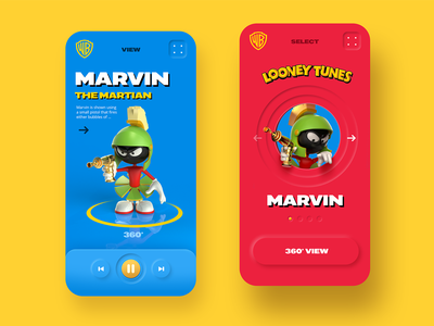 Looney Tunes - Characters neumorphic concept space looney tunes design ux character dribbble