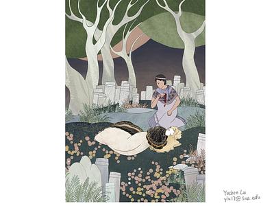 Antigone storytelling childrens book illustration art photoshop digitalart pen and ink illustration