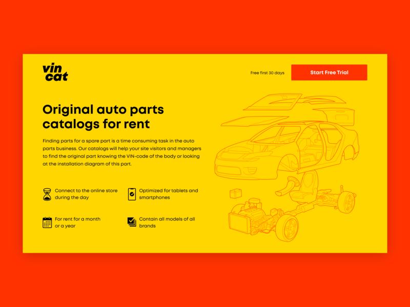 Vincat landing page illustration car parts site vector landing
