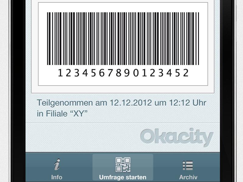 Okacity App Gutschein qr mobile app ios android okacity character apple iphone smartphone button coupon