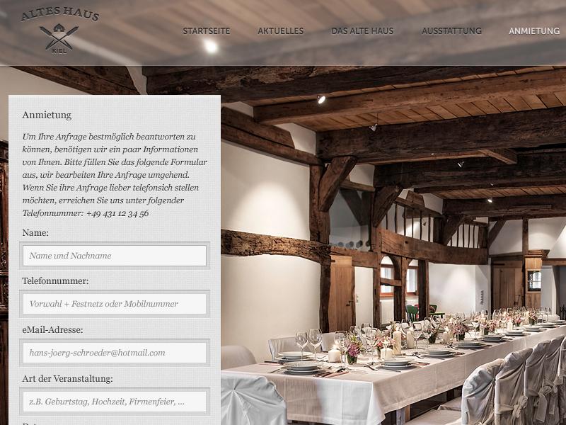 Altes Haus Kiel Website - Anmietung website ui ux inquiry browser kiel germany internet design