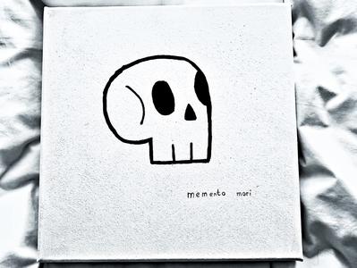 Memento Mori handmade sketch canvas skull art