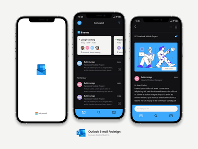 Outlook Email Redesign redesign mobile freebie meeting app inbox dark mode dark app darkmode mockups iphone12 uidesign free freebies refresh emailmarketing email outlook