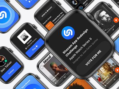 Shazam App Redesign Challenge Apple Watch Series 6 app design apple design don toliver astroworld travis scott drake mac miller frank ocean shazam ui design uiux redesign darkmode ui smartwatch series 6 apple watch apple