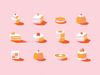A collection of sweets dessert shadows collection sweet biscuits cakes sweets illustration