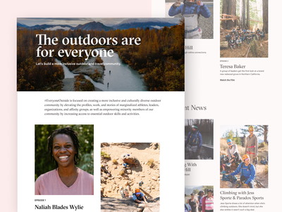 Everyone Outside Microsite web design outbound webflow travel microsite inclusion equity films outdoors