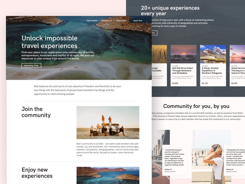 Bolt Travel Homepage