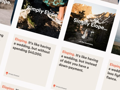 Branding/messaging explorations mountains simple weddings ads copy copywriting value proposition branding brand eloping wedding elope