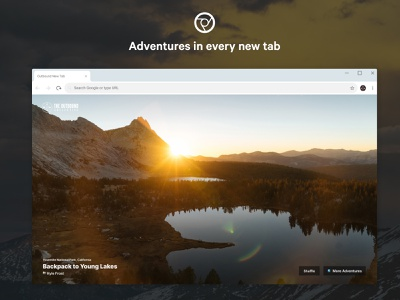 Outbound New Tab Extension mountains ui travel adventure new tab chrome extension chrome photography outdoors