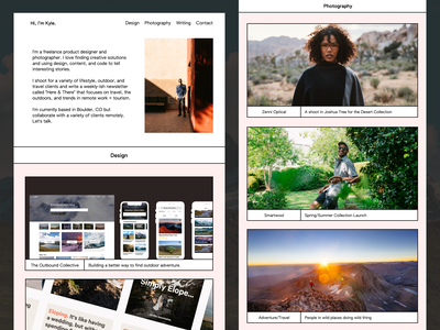 Hi, I'm Kyle. product design design website personal portfolio photography webdesign webflow