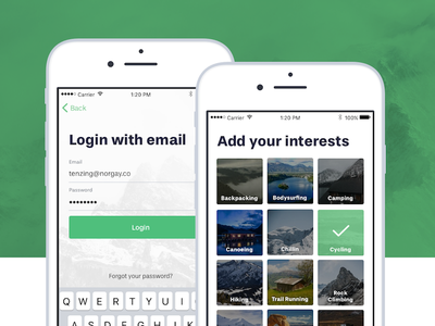 Onboarding detail activity ios adventure backpacking outdoors mobile login onboarding travel