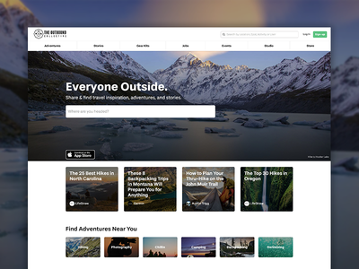 Everyone Outside search homepage photography hiking landscape travel outdoors landing page mountains