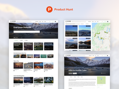 The Outbound 2.0 is on Product Hunt product hunt redesign adventure travel hiking mountains search travel outdoors adventure