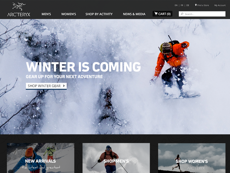 Homepage concept homepage arcteryx concept spec outdoors winter clothing mountains personal