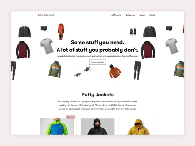 You need another puffy jacket review products nocode webflow minimal white funny travel outdoors landing page ecommerce shopping