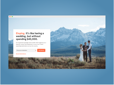 You should probably elope eloping homepage photography web design landing weddings elope