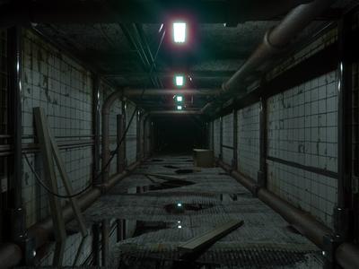 Darkness Awaits 3d cgi octane interior creepy hallway cinema 4d octane render