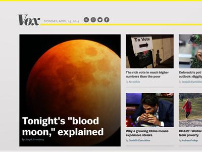 Vox.com // homepage v1 news design vox vox.com ezra klein melissa bell vox media journalism