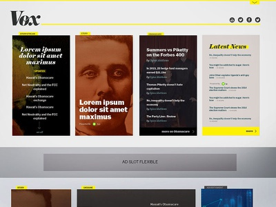Early Vox.com Homepage mock vox news typography journalism yellow grey