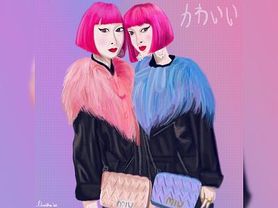 Harajuku Girls fashion illustration aesthetic portrait illustration portrait illustration digital art design