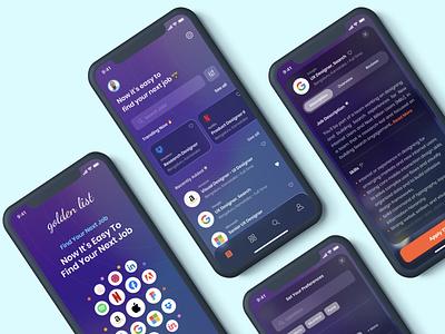 Golden List - UI Kit for Job Listing iOS App glassmorphism clean uidesign download uikit ios job board