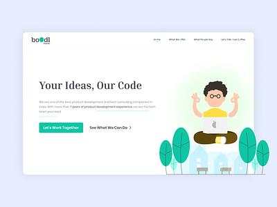 Your Ideas, Our Code - Landing Page Concept Design minimal design clean ui website landing page