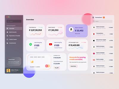 Concept design Internet Banking Dashboard with glassmorphism payment credit card bank app internet banking dashboard app dashboard design glassmorphism dashboard