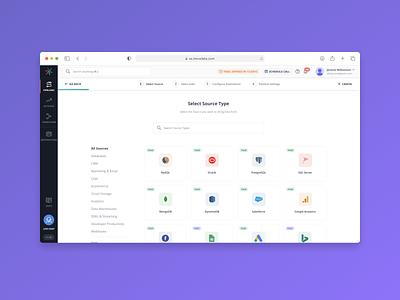 Pre-built integrations to 100+ data sources connectos data integration inteface clean web app dashboard saas