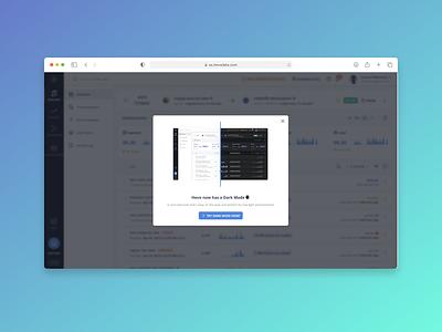 Introducing Dark Mode! analytics data pipeline data integration user interface dark mode platform dashboard saas