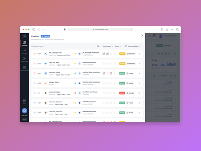 List of all data pipelines in a team data pipeline data integration web app product creative dashbaord saas