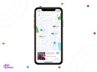 Daily UI Challenge 029 - Map comment android search map food restaurant gif animation ios ux prototype creative app dailyui ui challenge dribbble design minimal clean