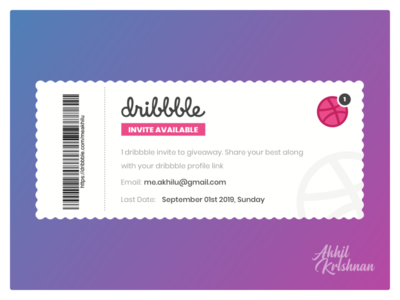 1 dribbble invite available for giveaway dribbble invites clean works playoff new invitation ticket welcome player creative minimal design challenge shot giveaway invite dribbble