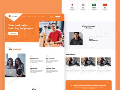Lingotalk Landing Page landing page concept design startup orange education website corporate website clean design website uiux ui