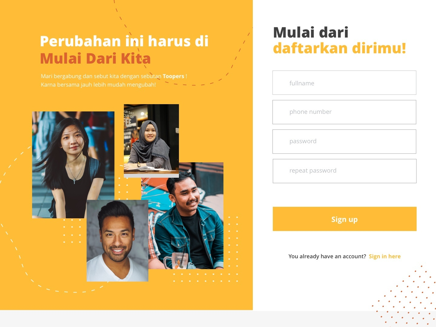 Landing Page for Social Website yellow social network social landingpage clean uiux ui