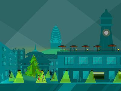 At Night kathmandu graphic design cityscape illustration
