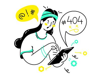 Error 404 clean web vector minimal illustrator illustration icon flat art app