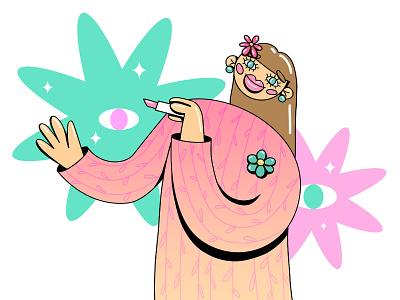 Summer girl lipstick character design character beauty girl minimal flat illustration illustrator branding