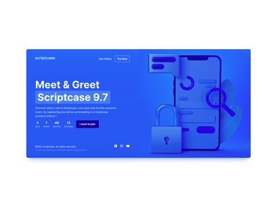 Scriptcase countdown landing page countdown web webdesign ui design web design