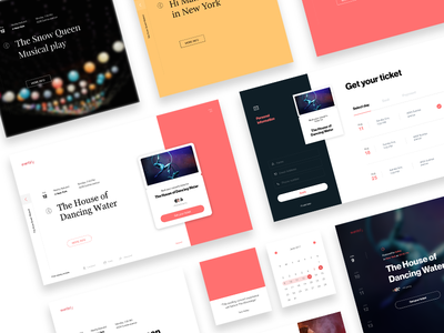 Styles exploration for website font typography red color ticket booking event website card direction explore style