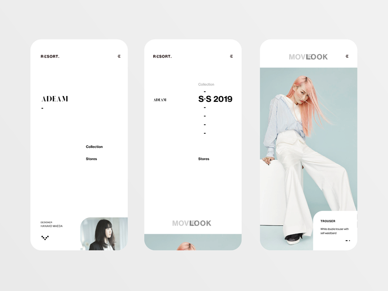Adeam - Resort 2019 collection design ux ui interface concept resort gallery layout clean fashion simple minimalist reponsive mobile app
