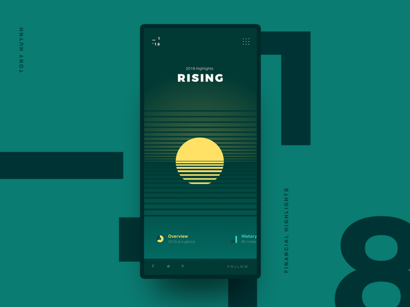 Rising - Financial Report moon rising sun yellow layout uidesign visual data graph chart concept loading onboarding splash welcome financial design website app mobile