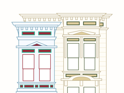 San Francisco Houses Illustration snapchat san francisco 插画 geofilter building architecture home house city simple flat illustration